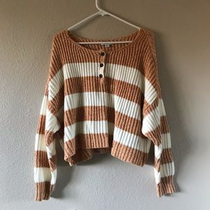 AE Yellow Striped Henley Sweater
